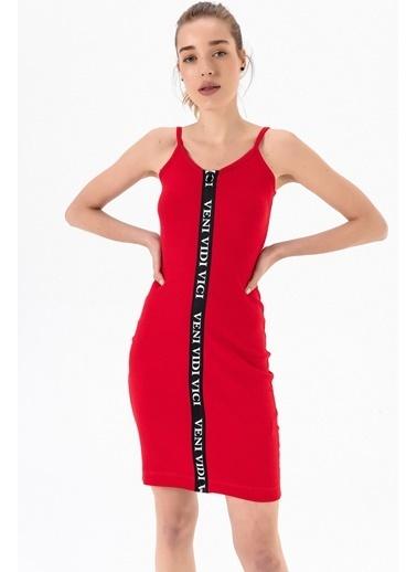 Emjey Boydan Baskılı Fermuarlı Elbise Kırmızı